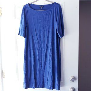 Eileen Fisher Blue Jersey Shift Tunic Dress M